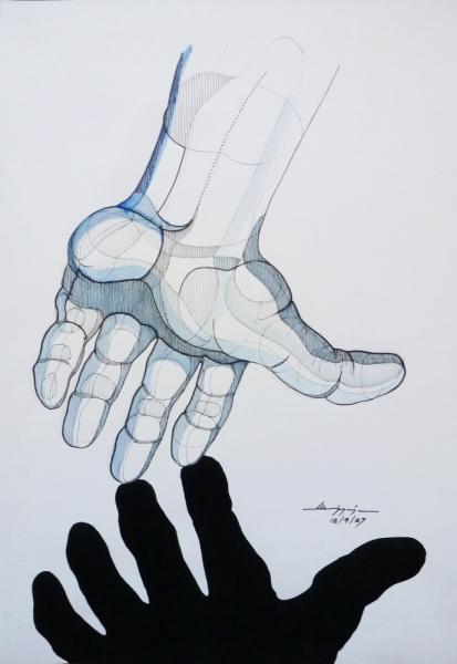 Mano - Pennarello e tempera su carta, 48 x 33 cm - Meriggi, 1987