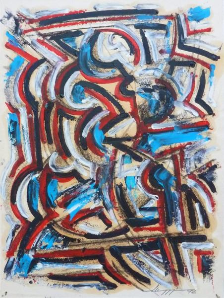 Figura - Olio su carta - 40 x 30 cm - Meriggi, 1992