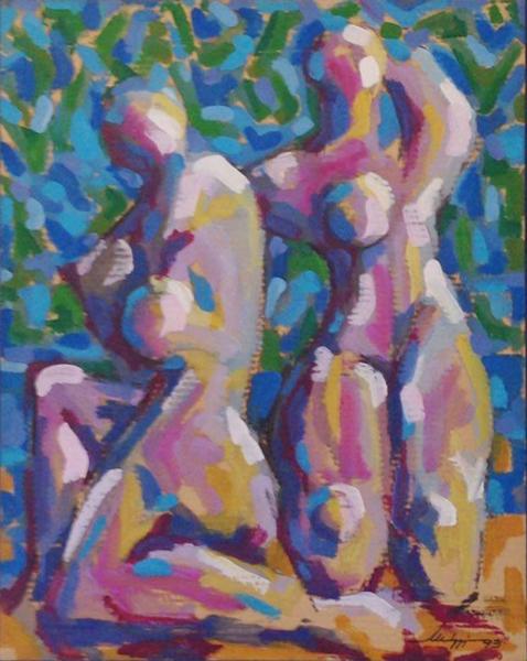Bagnanti - Olio su cartone - 82 x 64 cm