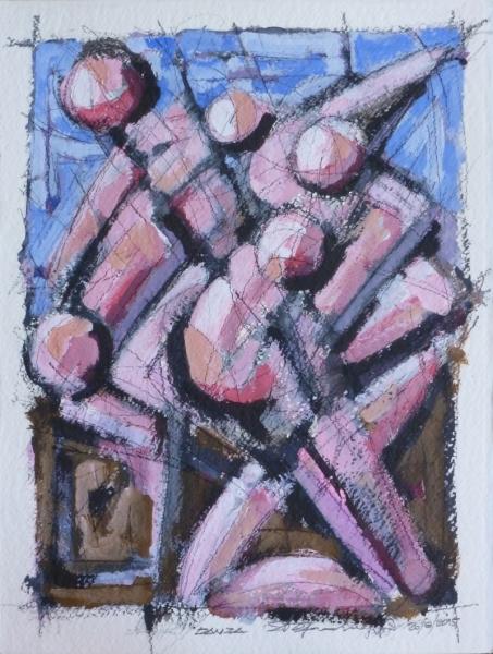 Danza - Acrilico e charcoal su carta - Stefano Meriggi, 2015