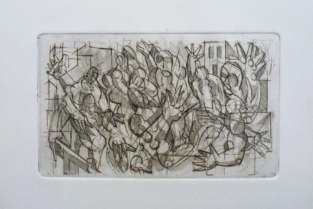Acquaforte 1 - Acquaforte su carta 25 x 35 cm - Studio accademico - Meriggi, 1992