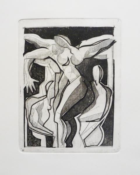 Acquaforte 2 - Acquaforte su carta 40 x 30 cm - Studio accademico - Meriggi, 1992