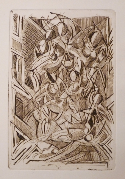 Acquaforte 3 - Acquaforte su carta 40 x 30 cm - Studio accademico - Meriggi, 1992