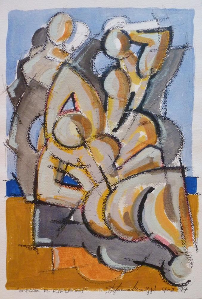 Ombre e riflessi - Acrilico su carta - Meriggi, 1994