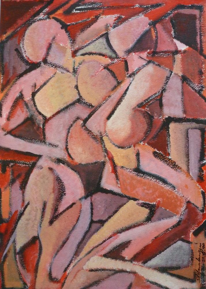 Figure - Acrilico su carta - Meriggi, 1996