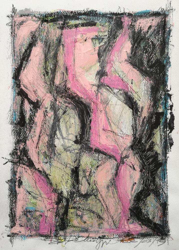 Nowhere - Acrilico e charcoal su carta - Meriggi, 2019