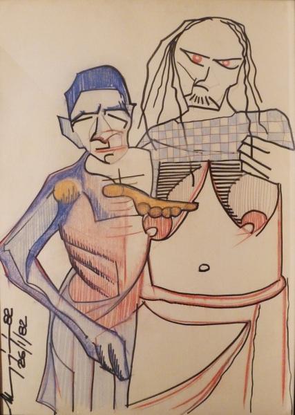 Figure - Pastelli e pennarello su cartoncino - 100 x 70 cm