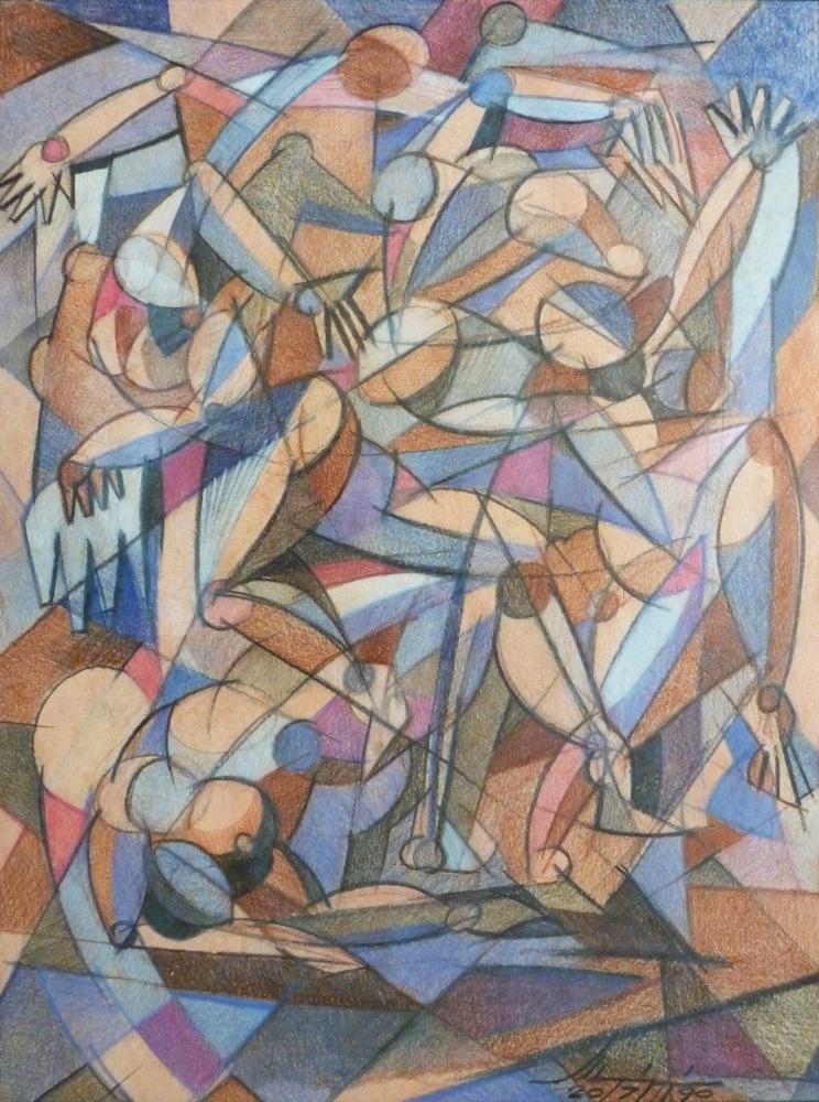 Battaglietta - Matite colorate su carta, 40 x 30 cm