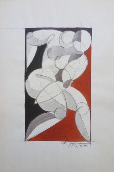 Studio di figura - China su carta - 40 x 30 cm