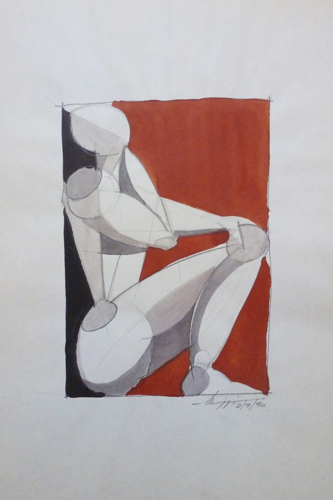 Studio di figura - China su carta - 40 x 30 cm