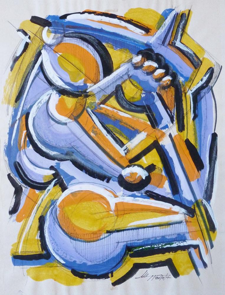 Studio di figura - Acrilico su carta - 40 x 30 cm