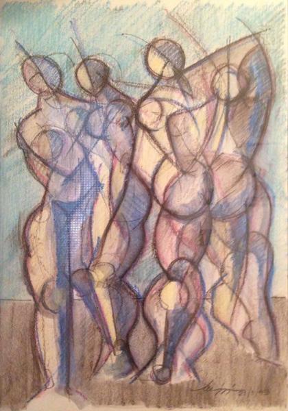 Figure - Pastelli e charcoal su carta - 70 x 50 cm