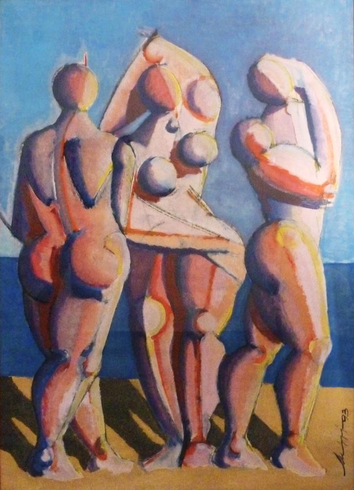 Bagnanti - Olio su carta - 144 x 104 cm