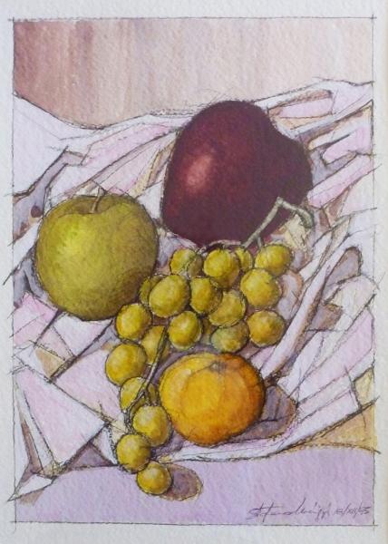 Natura morta - Acrilico su carta, 31 x 22 cm - 18 dicembre 1995