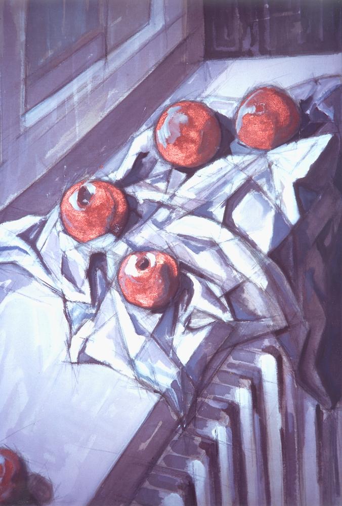 Natura morta - Acrilico su tela - 110 x 80 cm - Stefano Meriggi, 1996