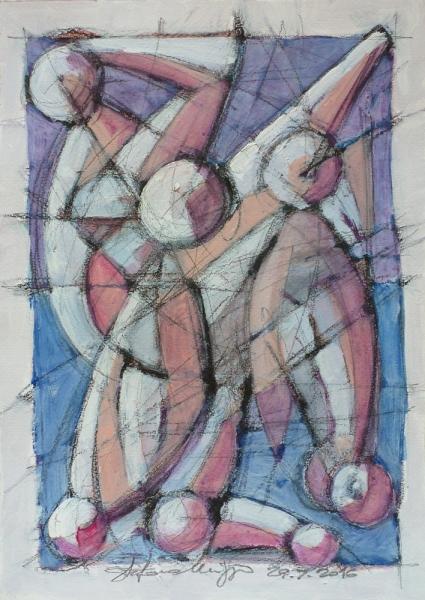 Figure - Acrilico e charcoal su carta - Stefano Meriggi, 2017