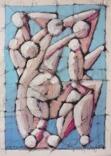Bagnanti - Acrilico e charcoal su carta - Meriggi, 2017