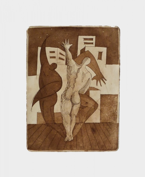 Acquaforte 4 - Acquaforte su carta 40 x 30 cm - Studio accademico - Meriggi, 1992