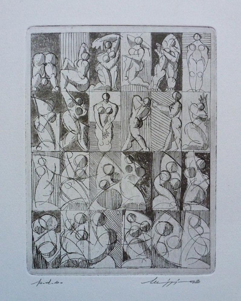 Acquaforte 5 - Acquaforte su carta 40 x 30 cm - Studio accademico - Meriggi, 1993