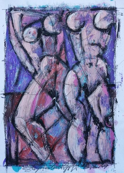 Nudes - Acrilico e charcoal su carta
