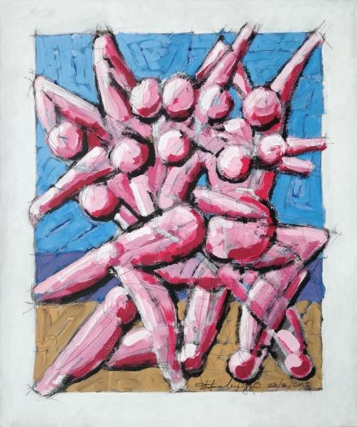 Dancing - Acrilico su cartoncino - © Stefano Meriggi