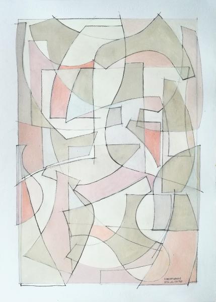 Composizione astratta di forme, acrilico su carta, 70 x 50 cm