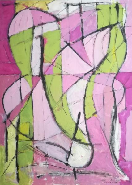 Dipinto ad acrilico su tela, 140 x 100 cm