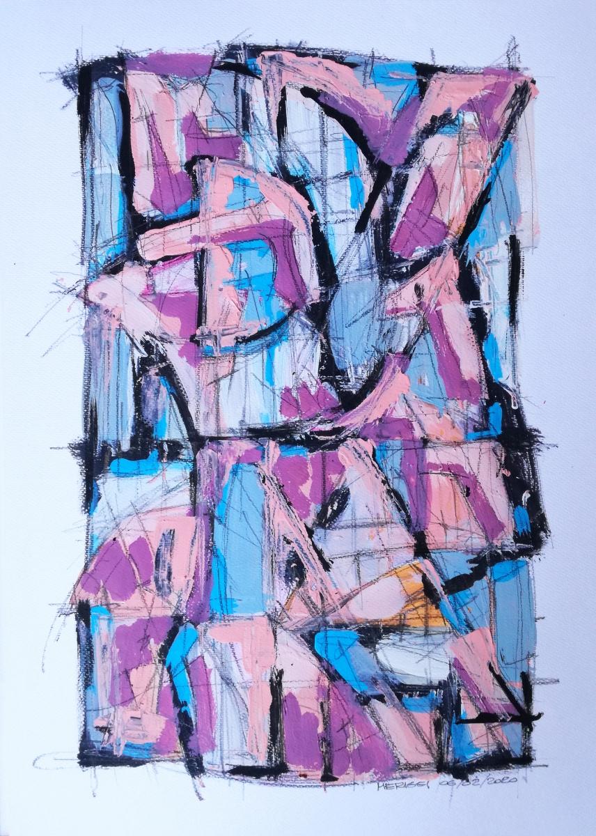 Pink I, bozzetto, studio in acrilico su carta, 42 x 29.7 cm