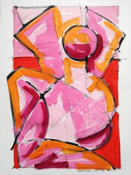 Nude, Acrilico su carta, 42 x 29.7 cm - Meriggi paintings