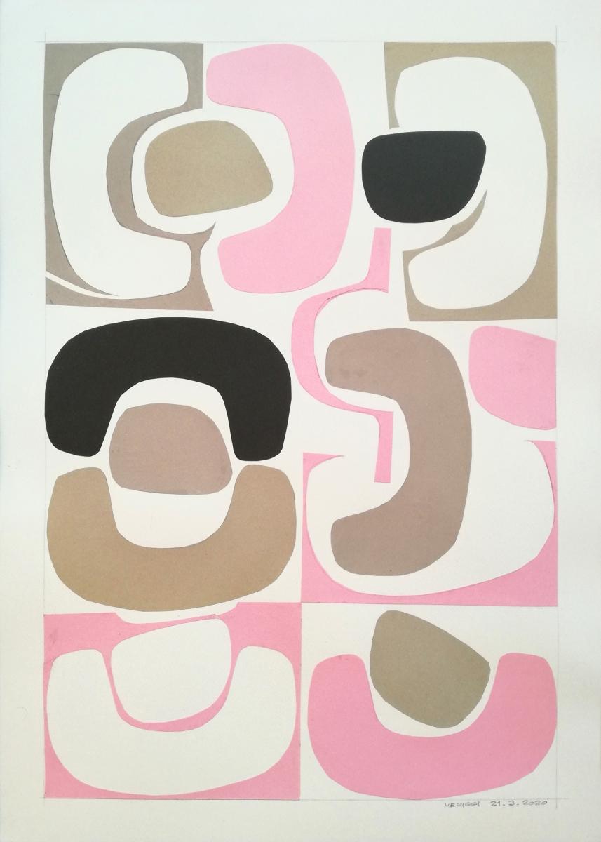 Shapes III, collage composto da alcune forme diverse ritagliate nella carta.