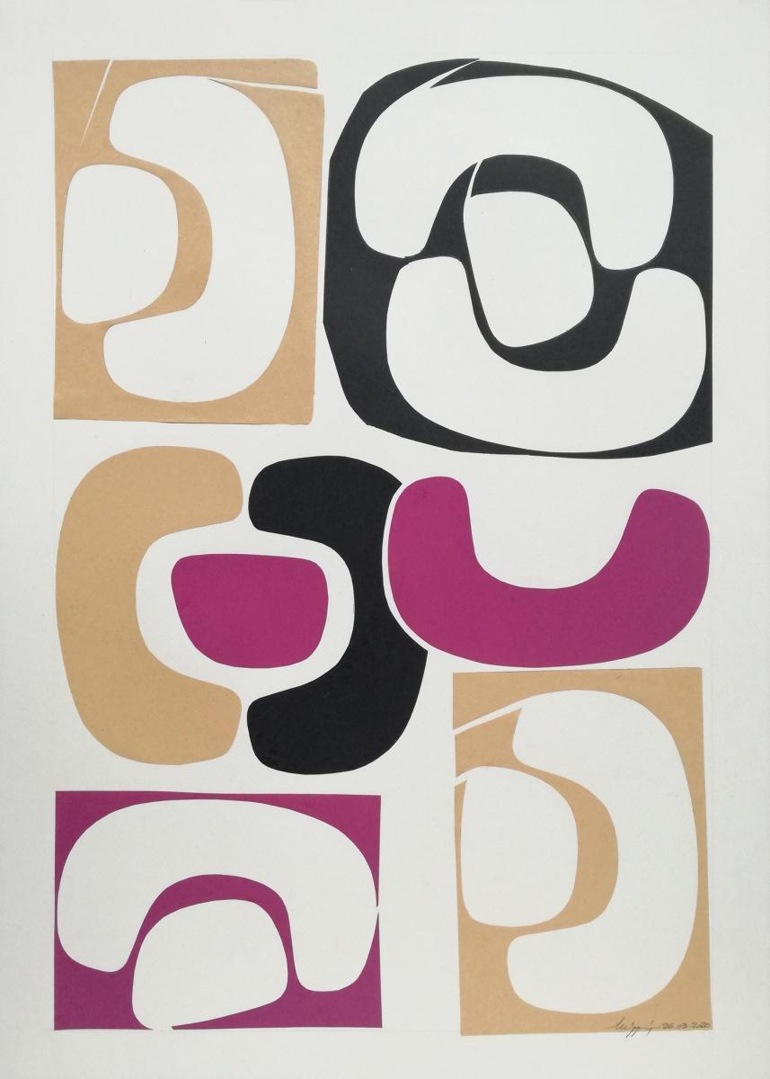 Shapes V, collage composto da alcune forme diverse ritagliate nella carta.
