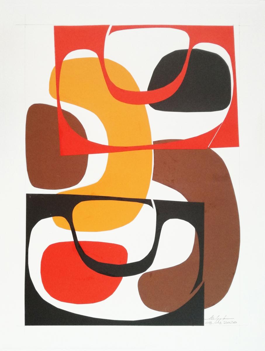 Shape XIV, collage composto da alcune forme diverse ritagliate nella carta.