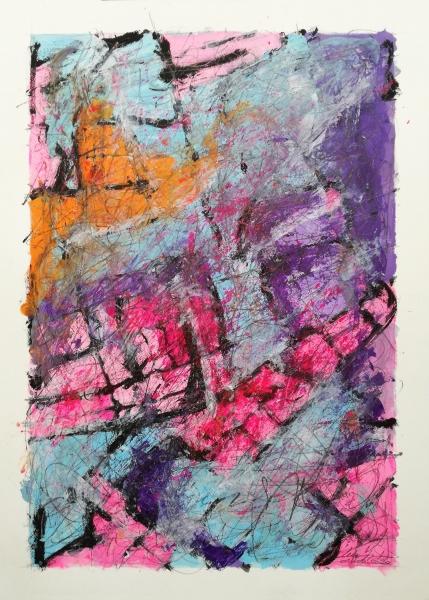 Abstract Solution I è un dipinto astratto, acrilico su carta, composto da segni, graffi e forme di diversi colori. © Stefano Meriggi 2020